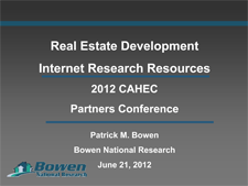 CAHEC Partners Conference: Real Estate Development Internet Research Resources