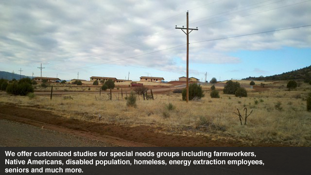 Rural and alternative housing studies including native tribes, energy extraction companies, displaced populations, homeless individuals, seniors